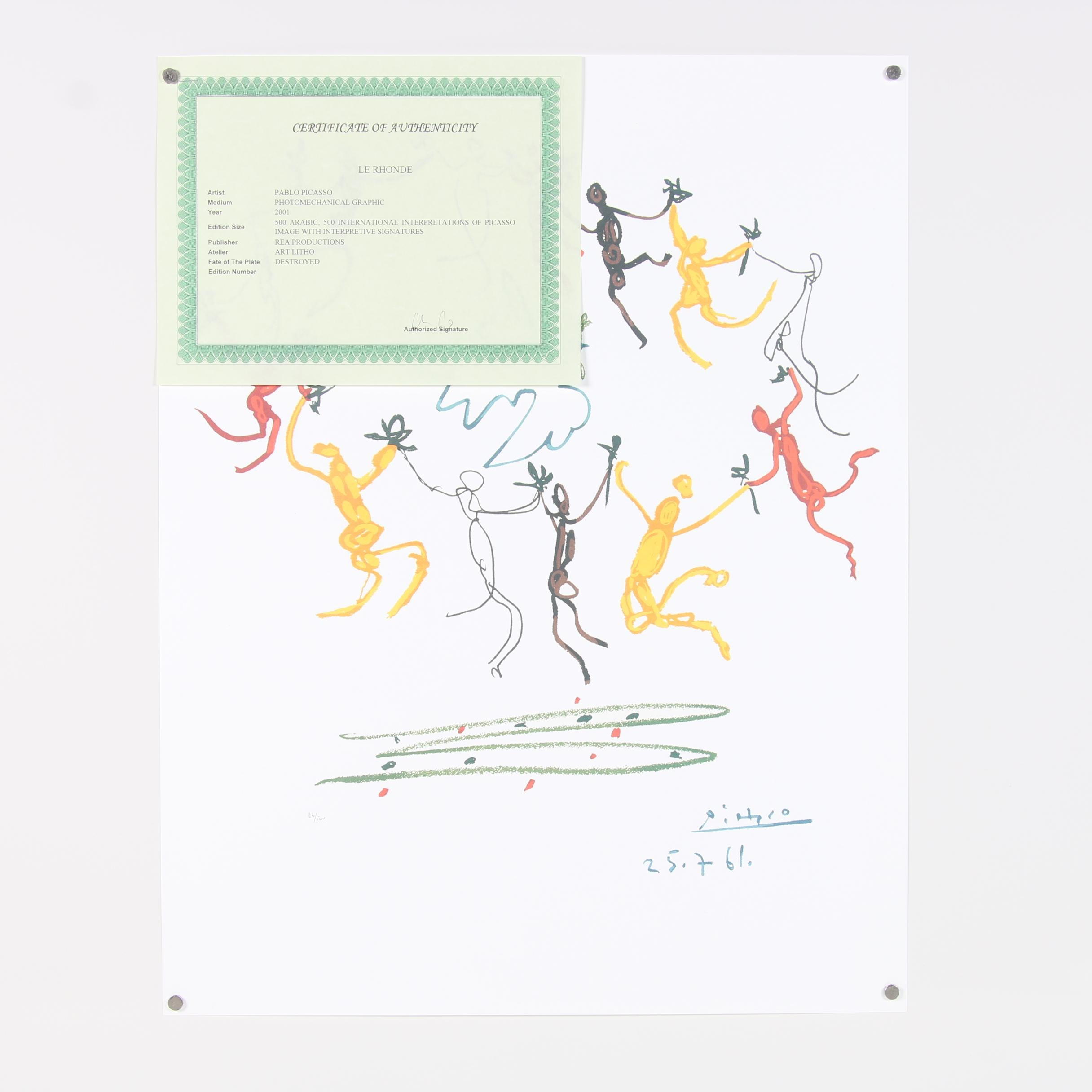 """2001 Offset Lithograph after Pablo Picasso """"La Ronde de la Jeunesse"""""""