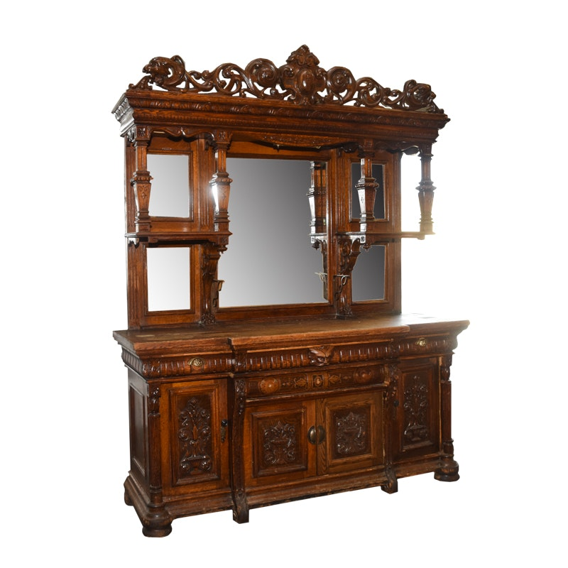 Late 19th Century Victorian Carved Oak Sideboard With Curio Top in the Style of R.J. Horner