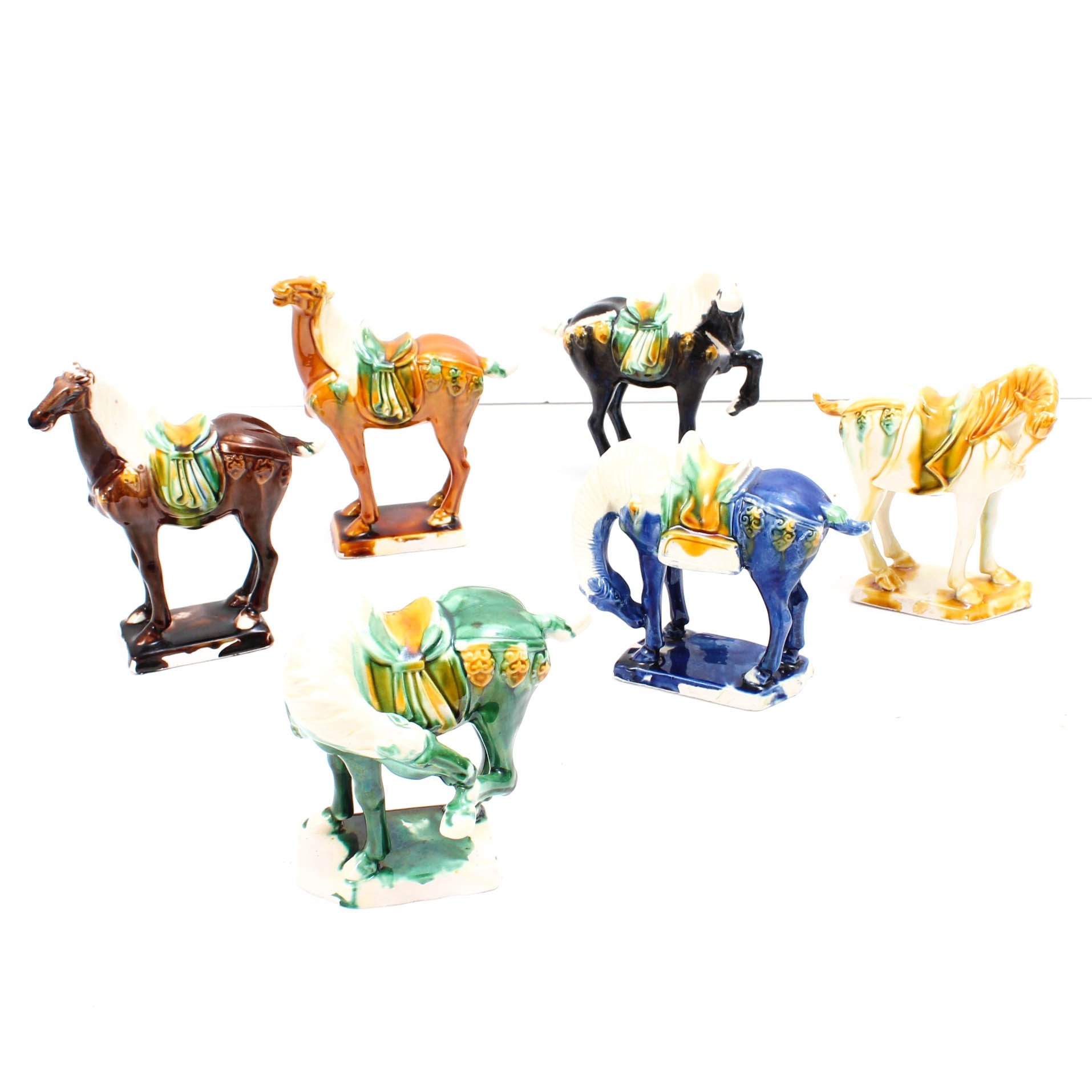 Six Chinese Tang Style Ceramic Horse Figurals