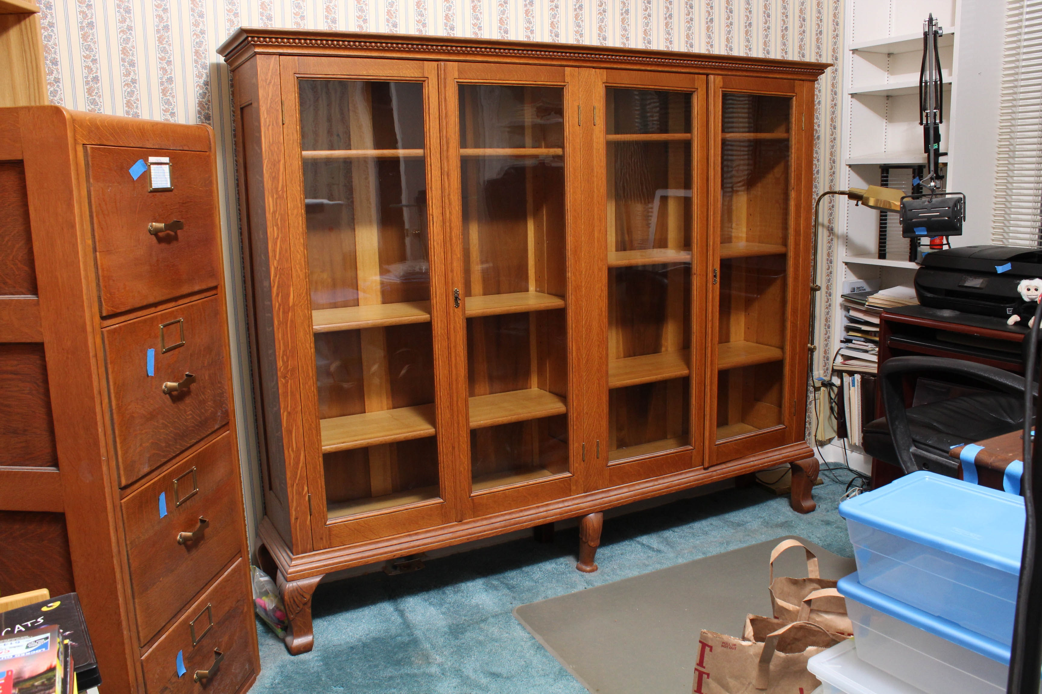 Antique Quarter-Sawn Oak Bookcase
