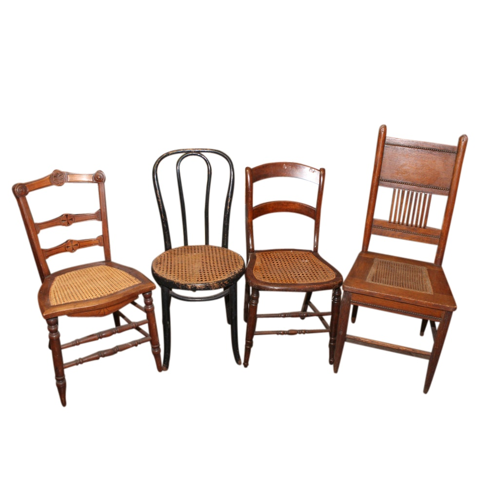 Four Wood and Cane Seat Chairs, Late 19th/Early 20th Century