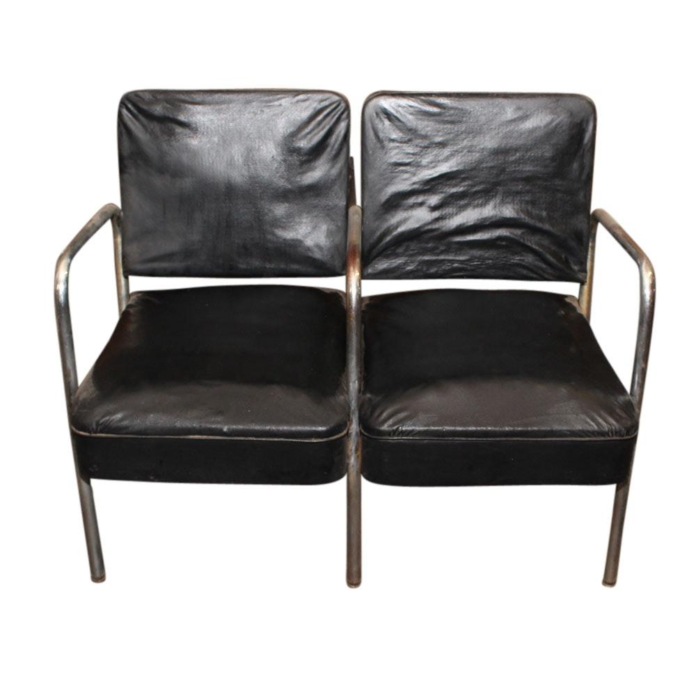 Mid Century Vinyl and Chrome Waiting Room Seat, 20th Century