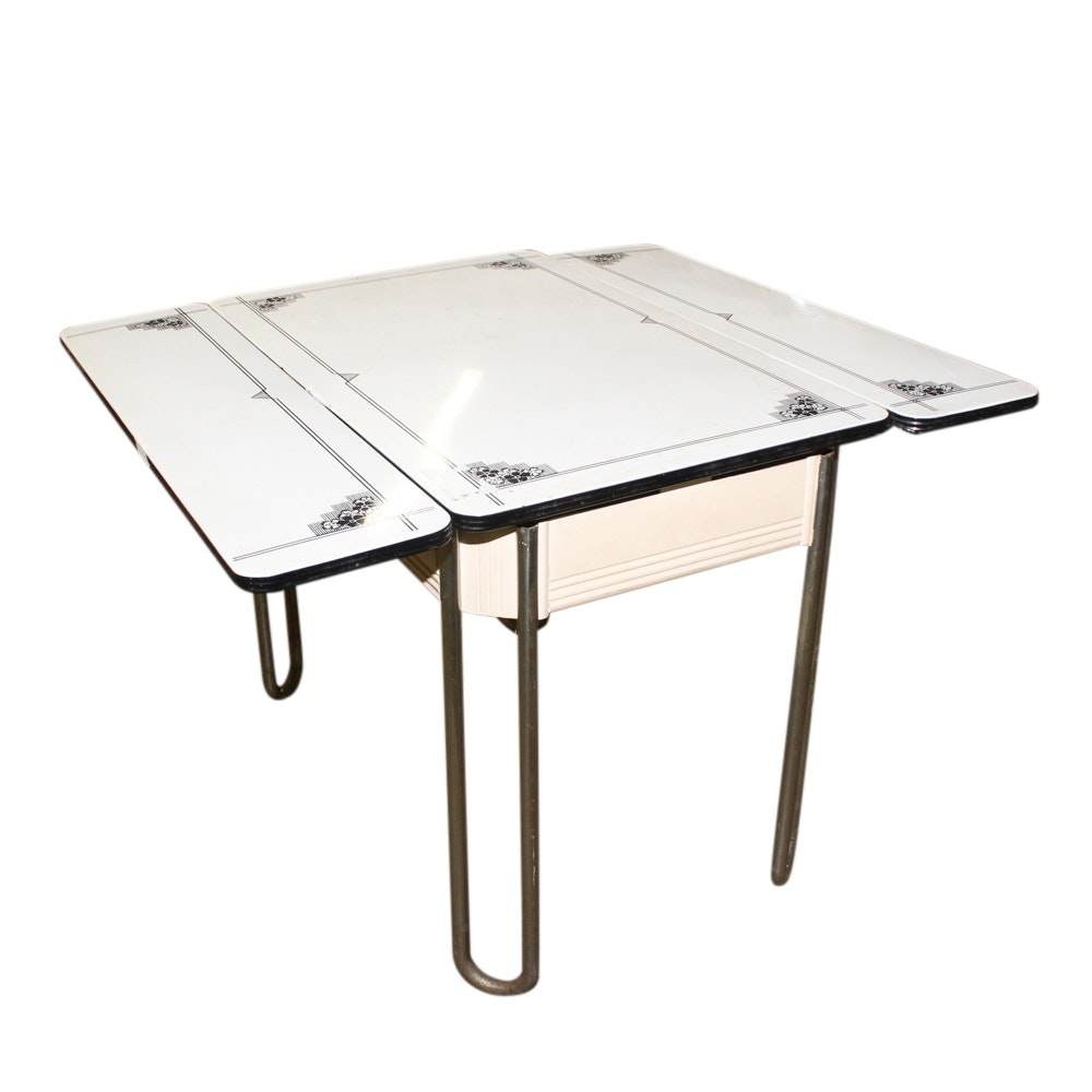 Mid-Century Kitchen Table with Porcelain Enameled Top