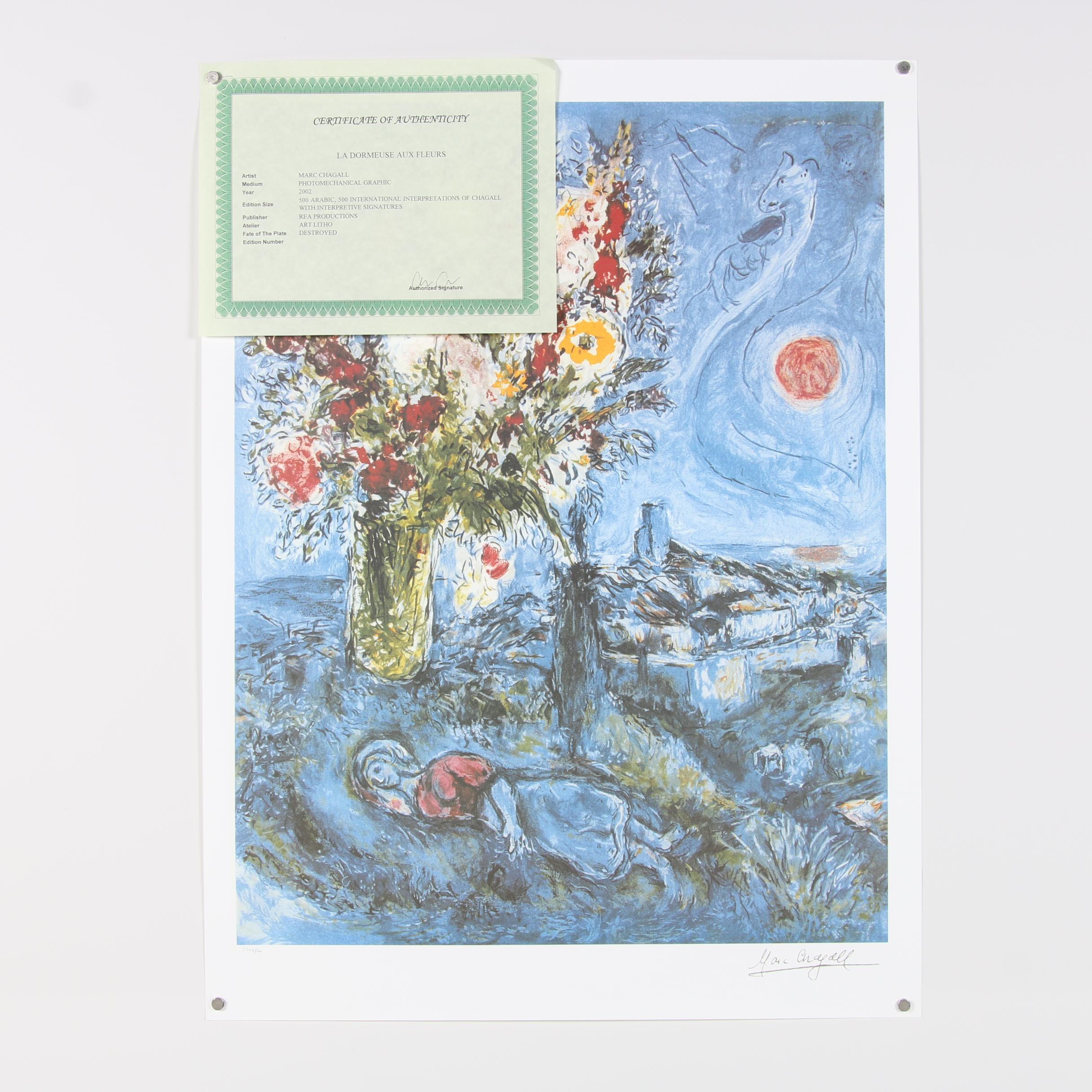 """2002 Offset Lithograph after Marc Chagall """"La Dormeuse Aux Fleurs"""""""