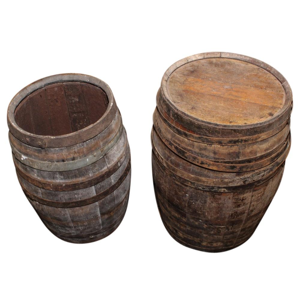 Two Wooden Barrels