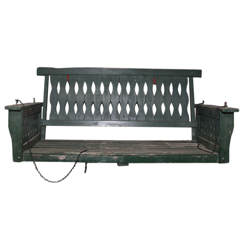 American Painted Wood Porch Swing