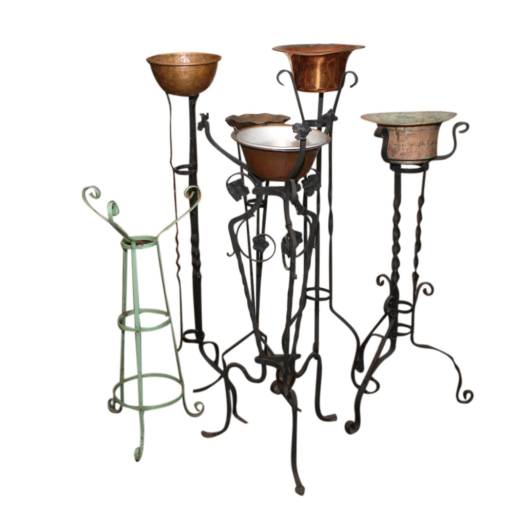 Six Metal Plant Stands, 20th Century