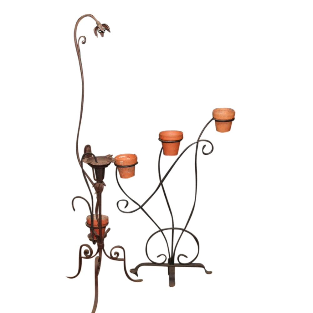 Scrolled Metal Plant Stand with Plant Stand and Lamp