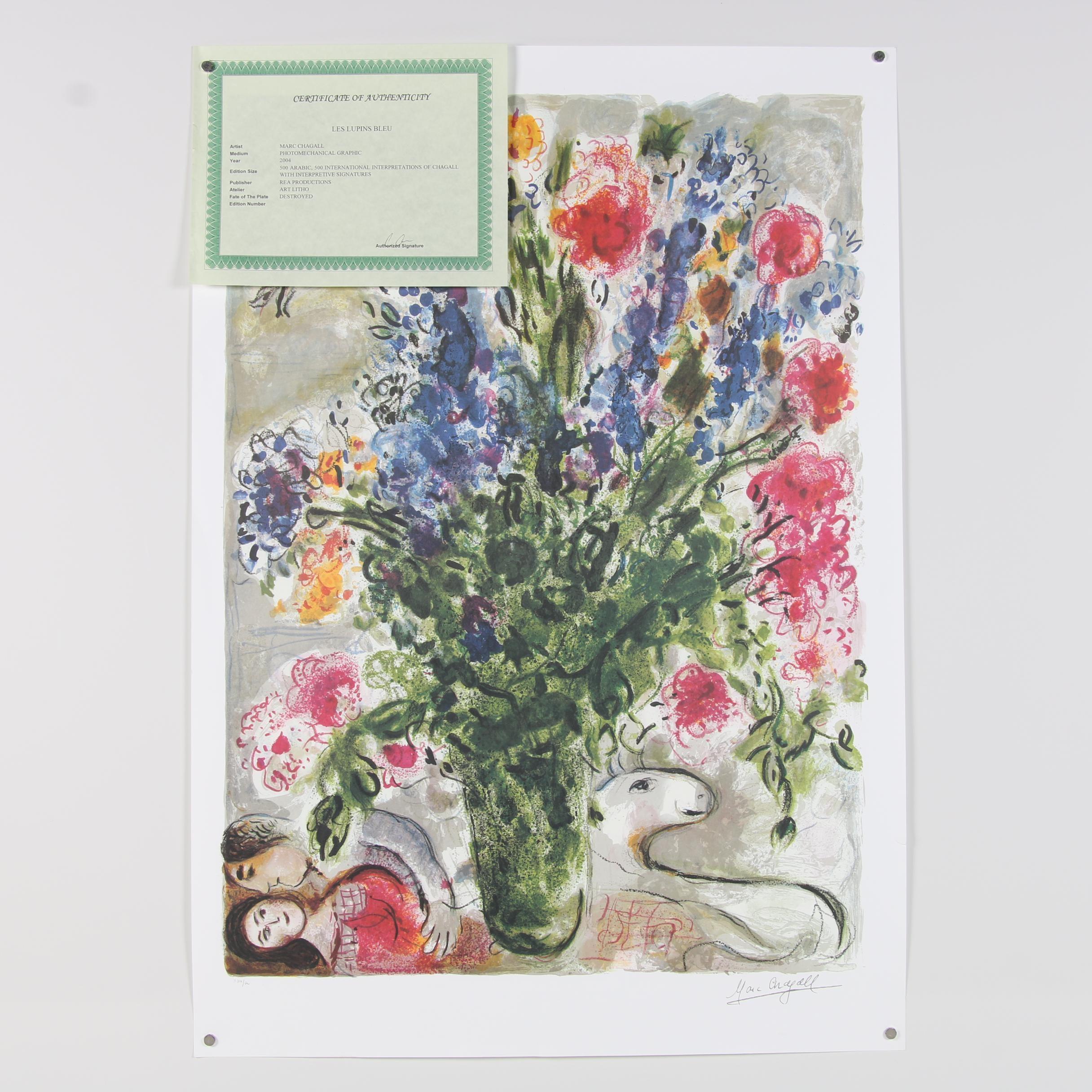"""2004 Offset Lithograph after Marc Chagall """"Les Lupins Bleu"""""""
