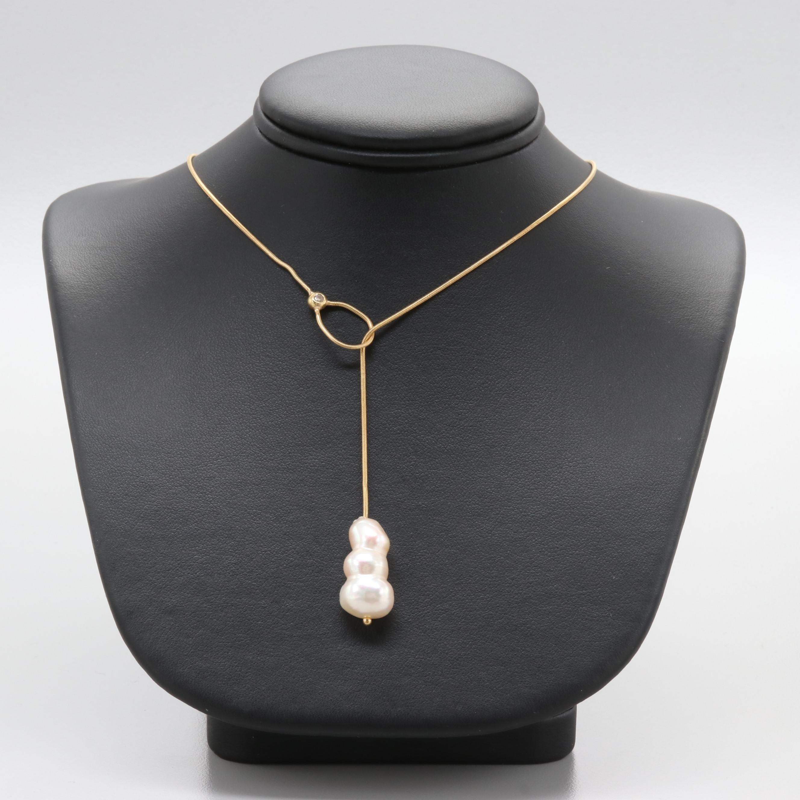 18K Yellow Gold Cultured Pearl and Diamond Snake Link Lariat Necklace
