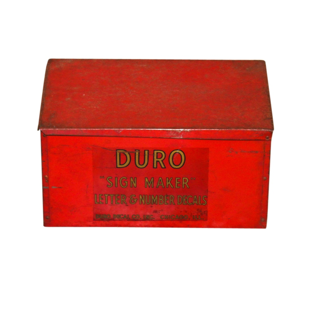 "Vintage Duro ""Sign Maker"" Advertising Box with Decals Included"