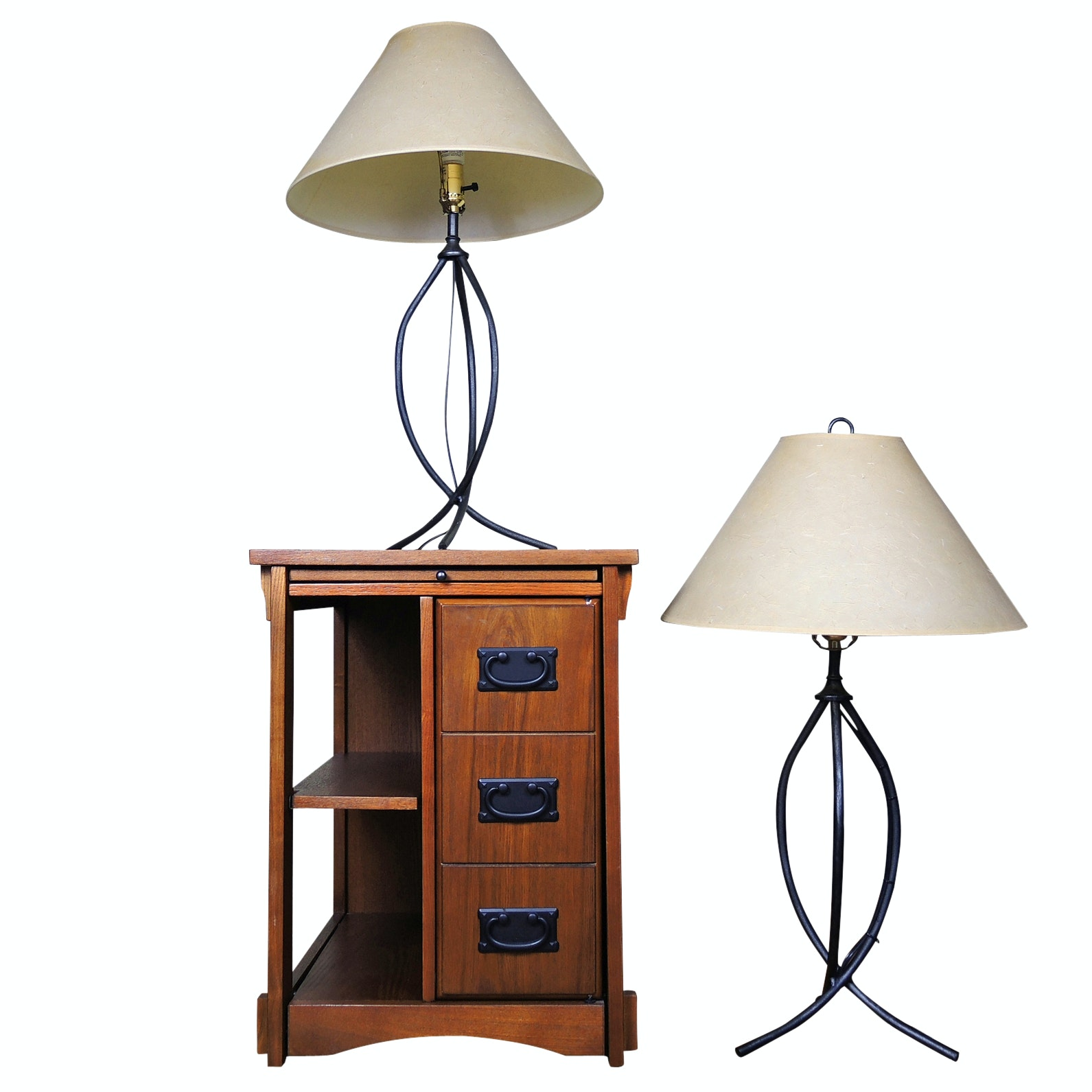 Mission Style End Table and Contemporary Table Lamps