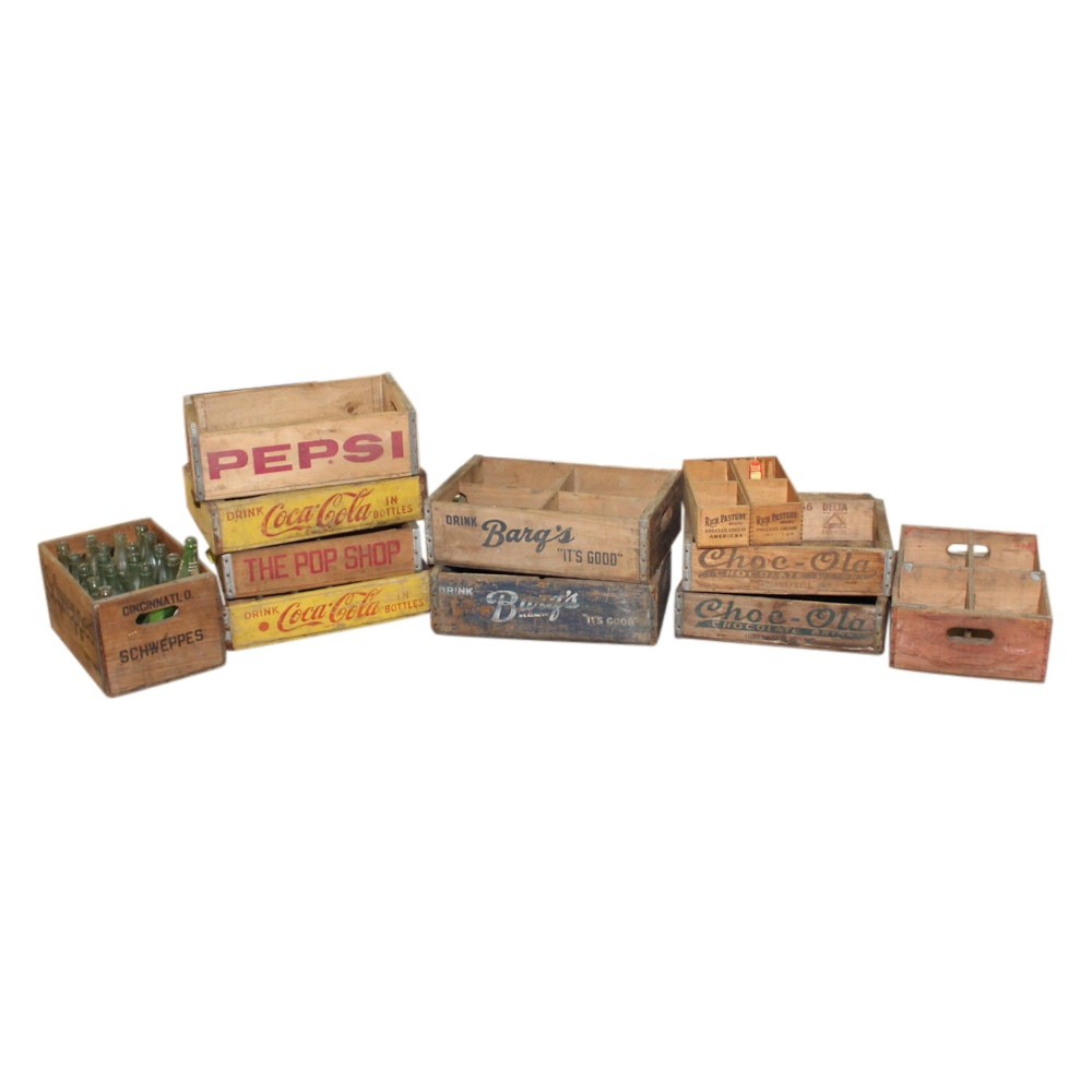 Vintage Advertising Boxes, Crates and Glass Bottles