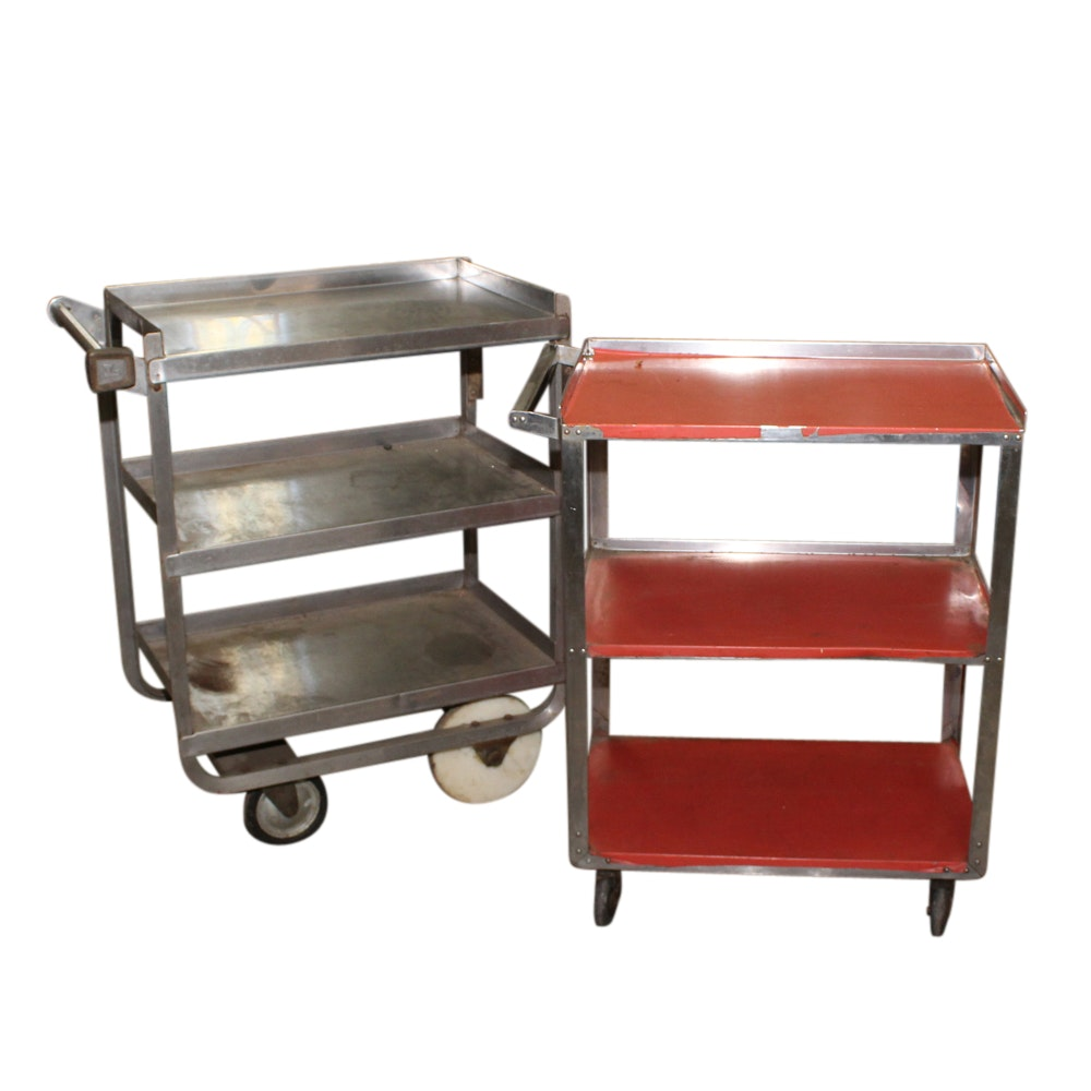 Two Metal Utility Carts, Mid/Late 20th Century