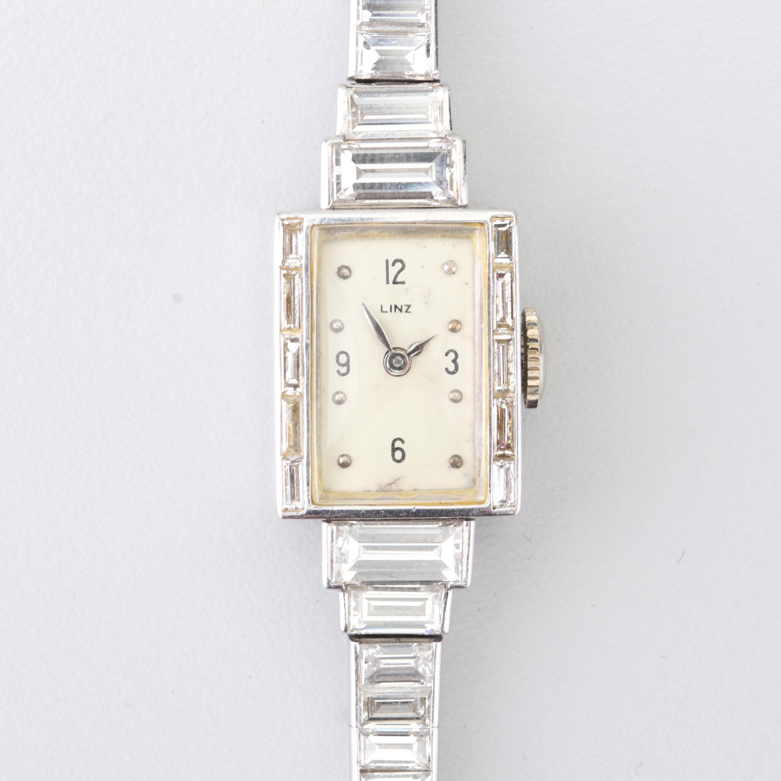 Linz Platinum 8.65 CTW Diamond Wristwatch, Circa 1920