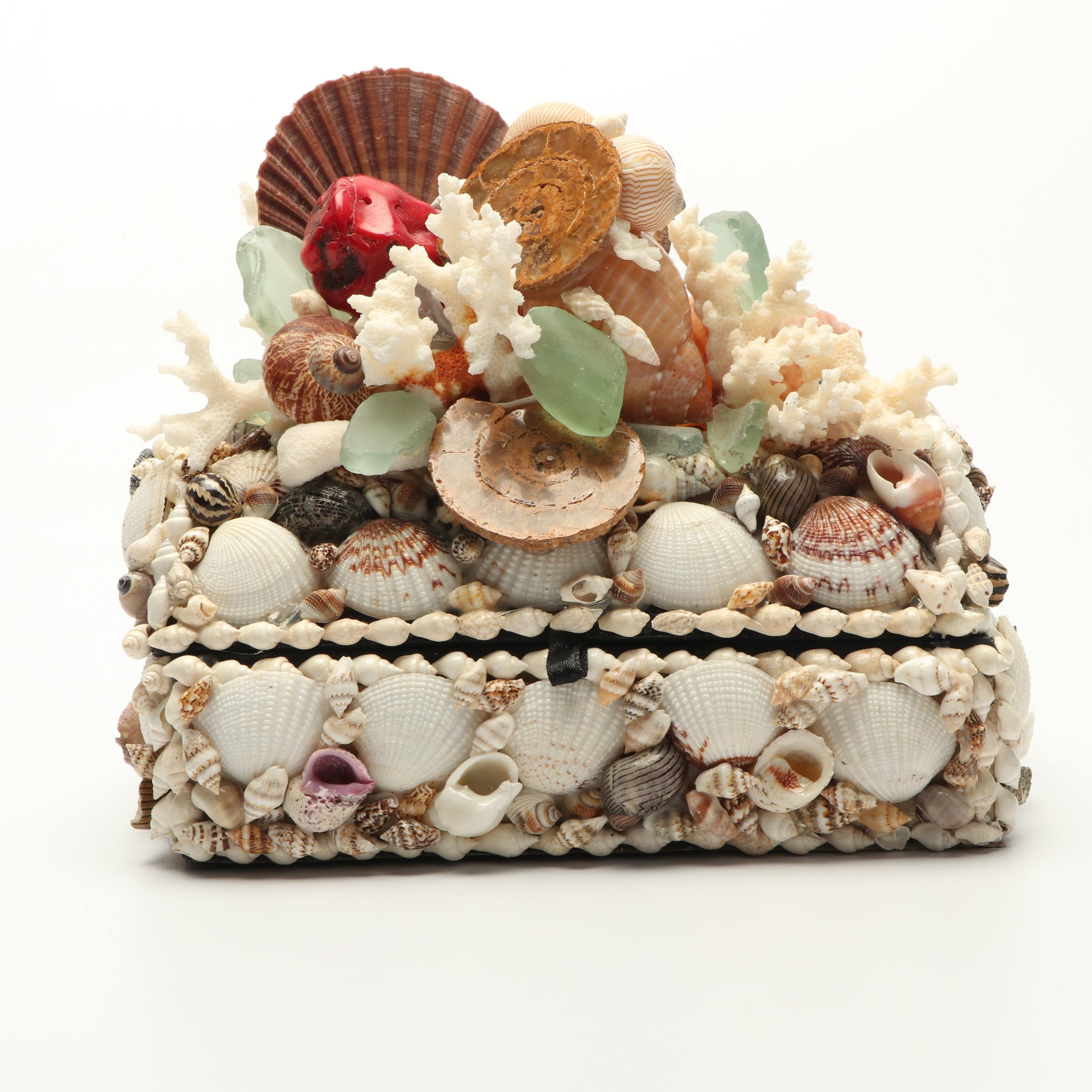 Marianne E. Handcrafted Shell, Coral, and Glass Adorned Trinket Box