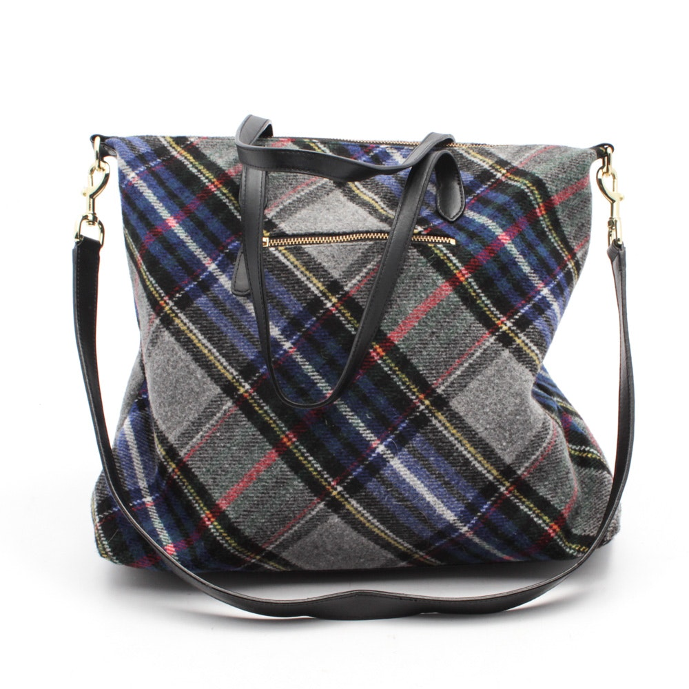 Talbots Tartan Plaid Leather Trimmed Tote