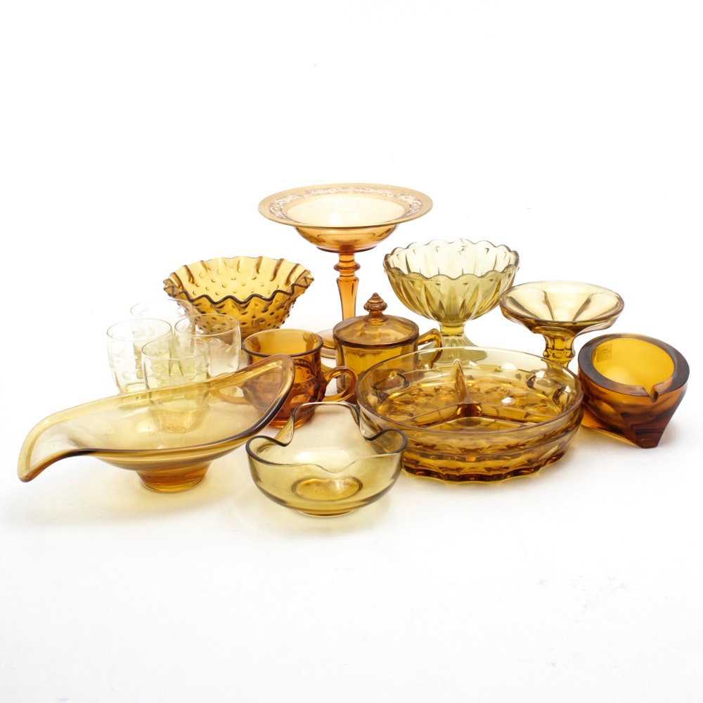 Amber Glass Tableware and Drinkware