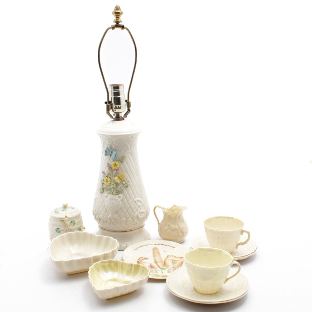 "Belleek Porcelain ""Woodland Boutique"" Accent Lamp, Cups, Saucers and Dishes"