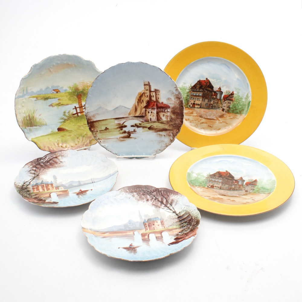 Six Antique Hand-painted Limoges Plates
