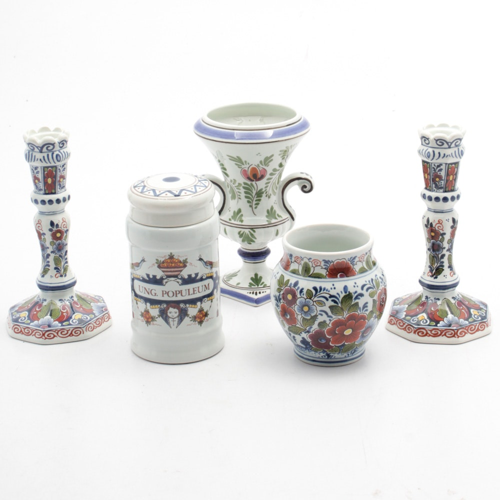 Hand-Painted Delft Candlesticks, Vases and Apothecary Jar