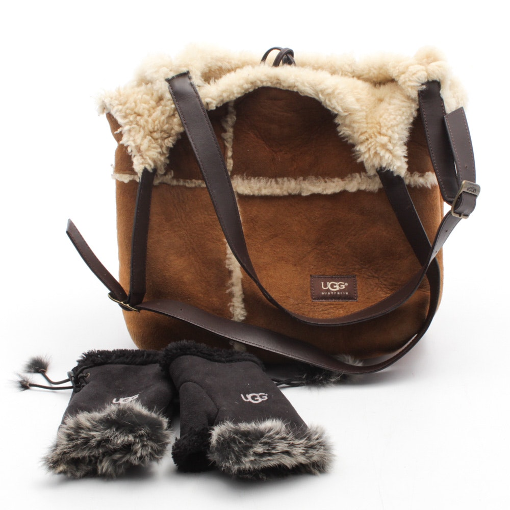 UGG Suede and Shearling Lined Tote and Rabbit Fur Trimmed Fingerless Gloves