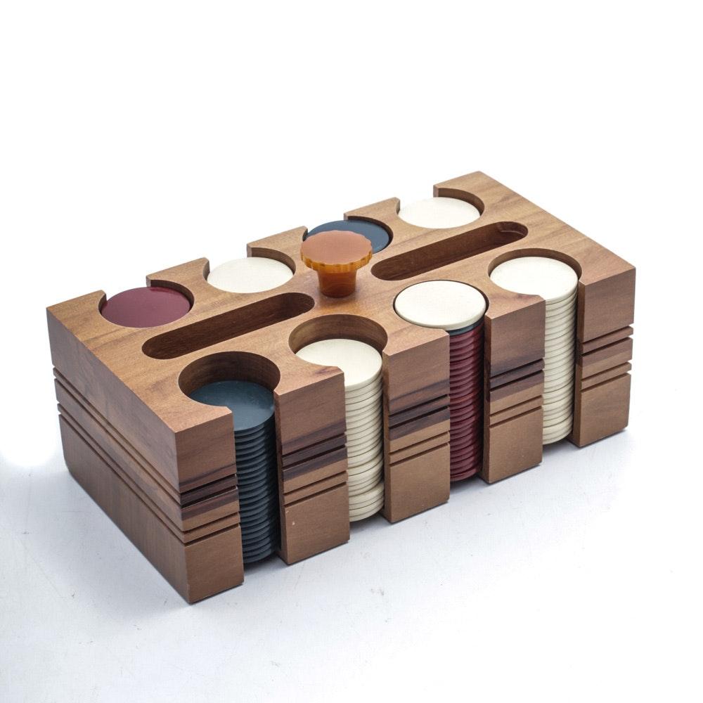 Vintage Walnut Poker Chip Set with Bakelite Handle
