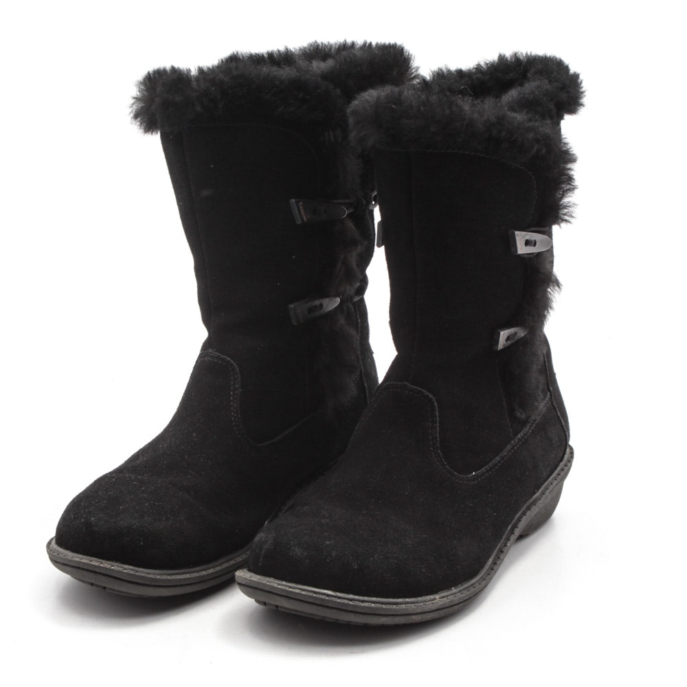 Women's Bearpaw Shearling Lined Black Suede Boots