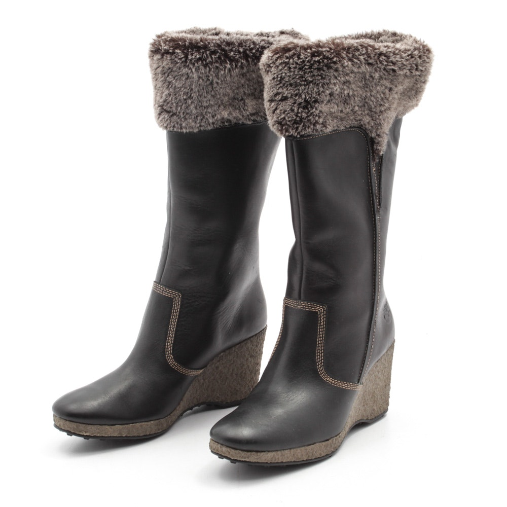 Timberland Faux Fur Lined Tall Wedge Heeled Leather Boots