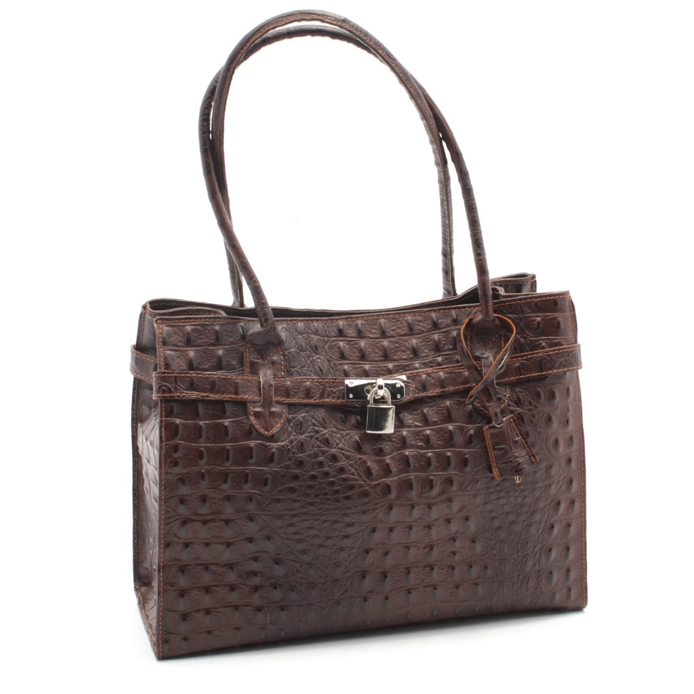 Croc Embossed Brown Leather Tote, Made in Italy