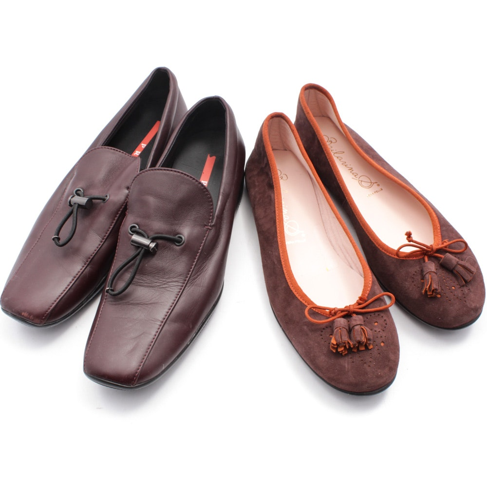 Women's Vintage Prada Loafers and Bailarina S Tasseled Ballet Flats