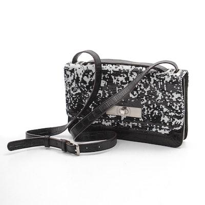 8b1e62301226 BCBG Max Azria Black and White Sequined Leather Crossbody