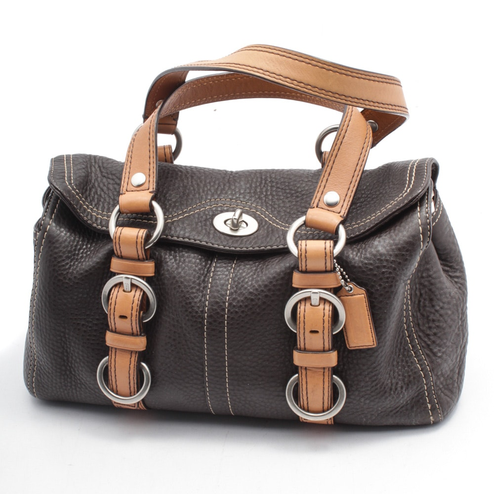 Coach Chelsea Pebbled Leather Turnlock Satchel