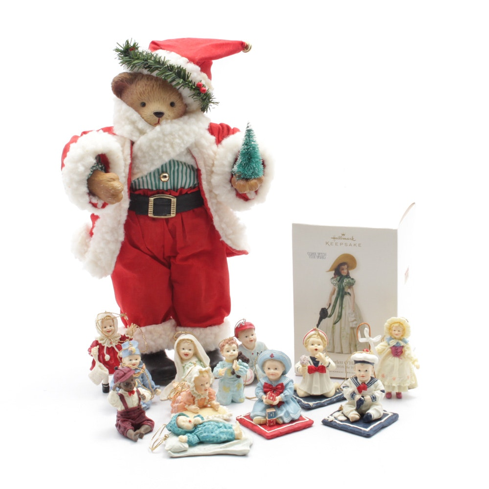 Ashton-Drake and Hallmark Vintage Doll Themed Christmas Ornaments and Bear