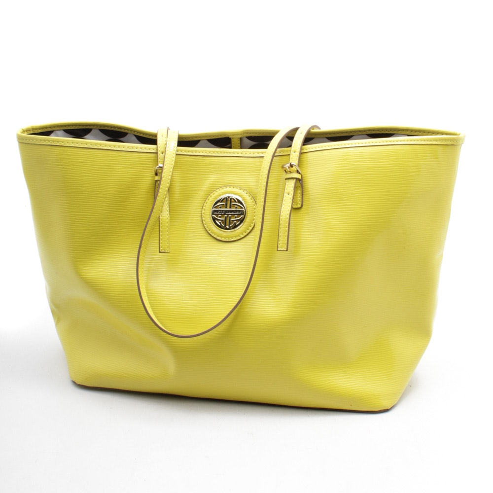 Kate Landry Yellow Textured Faux Leather Tote