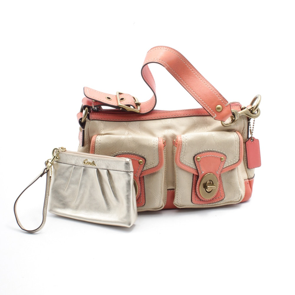 Coach Legacy Canvas and Leather Satchel and Coach Gold Metallic Leather Wristlet