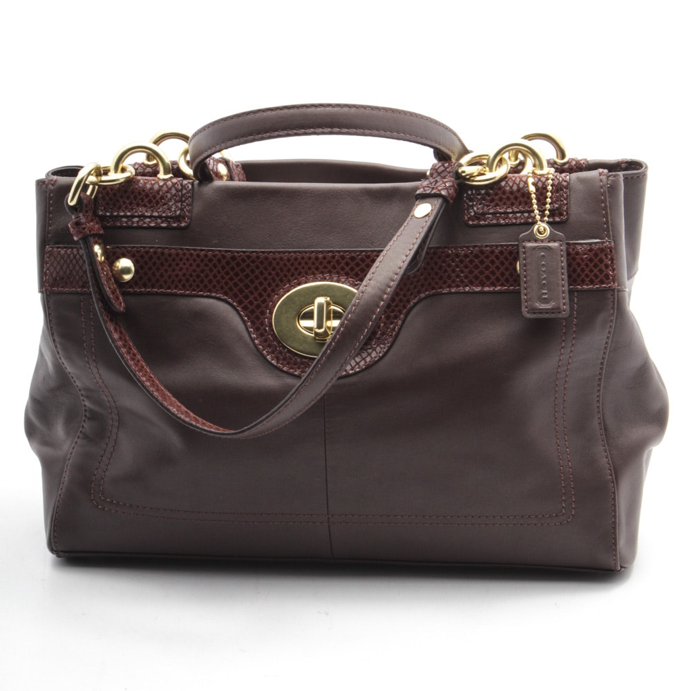 Coach Penelope Brown Leather Carryall Satchel