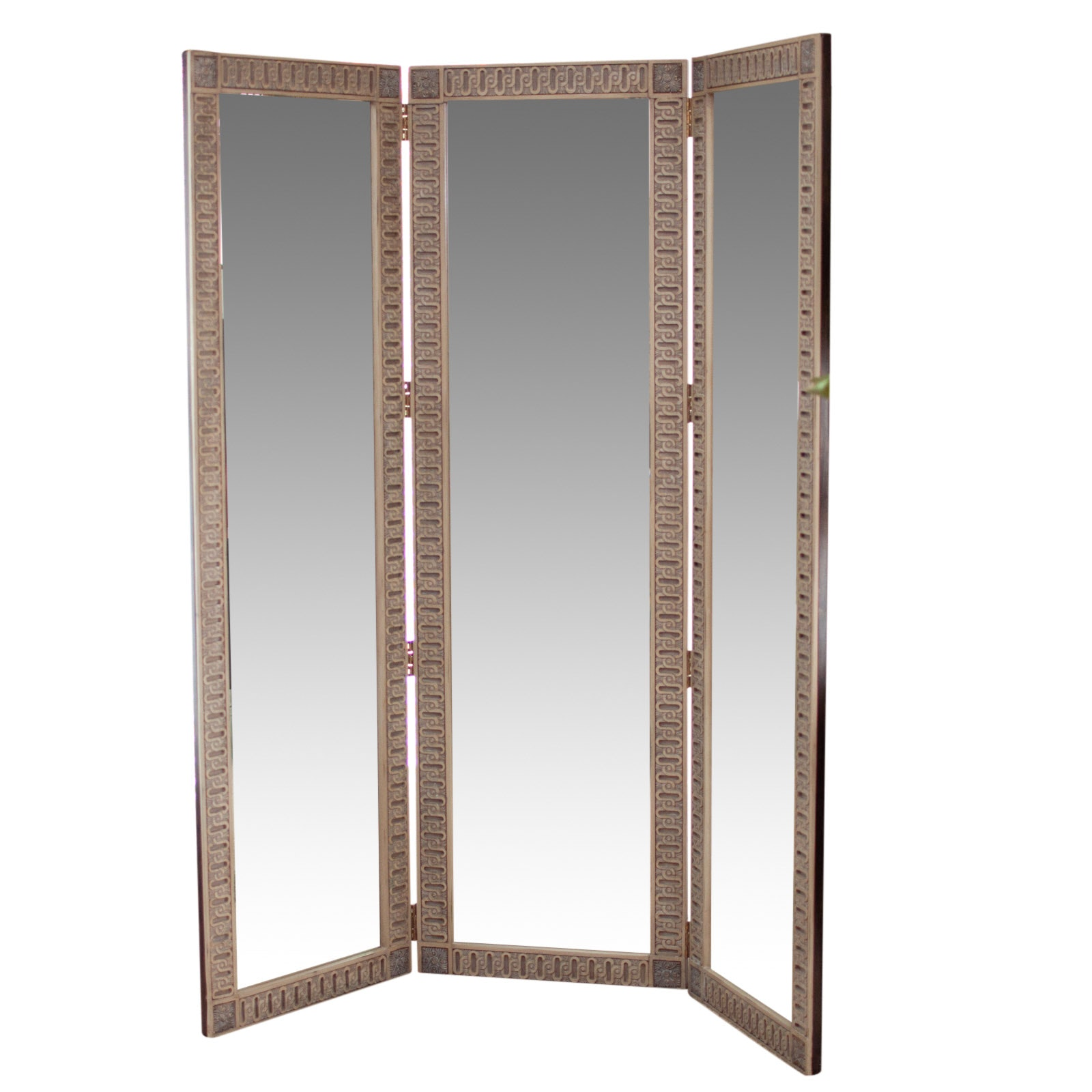 Contemporary Tri-Fold Dressing Screen with Beveled Mirror