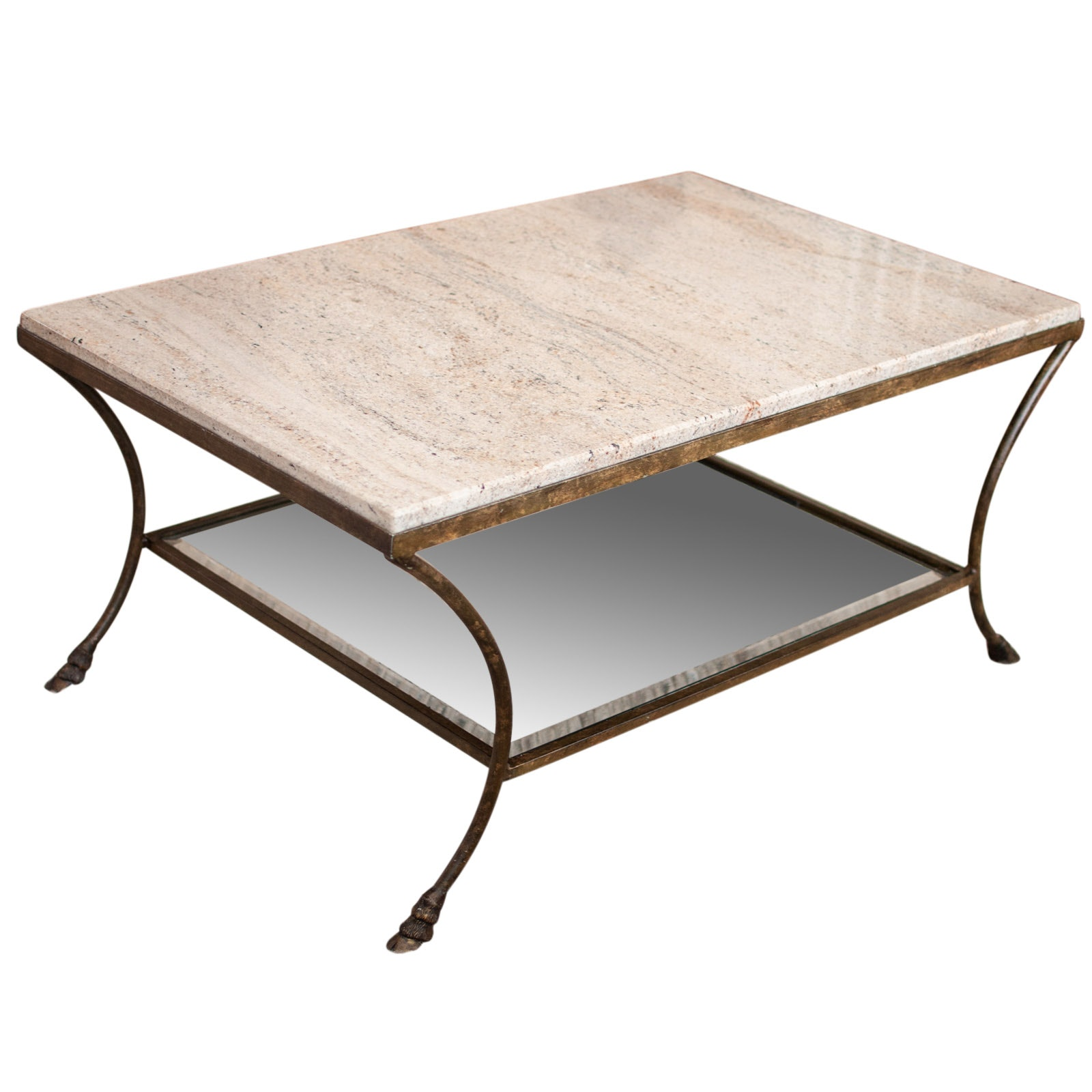 Contemporary Coffee Table with Marble Top and Beveled Glass Shelf by Henredon