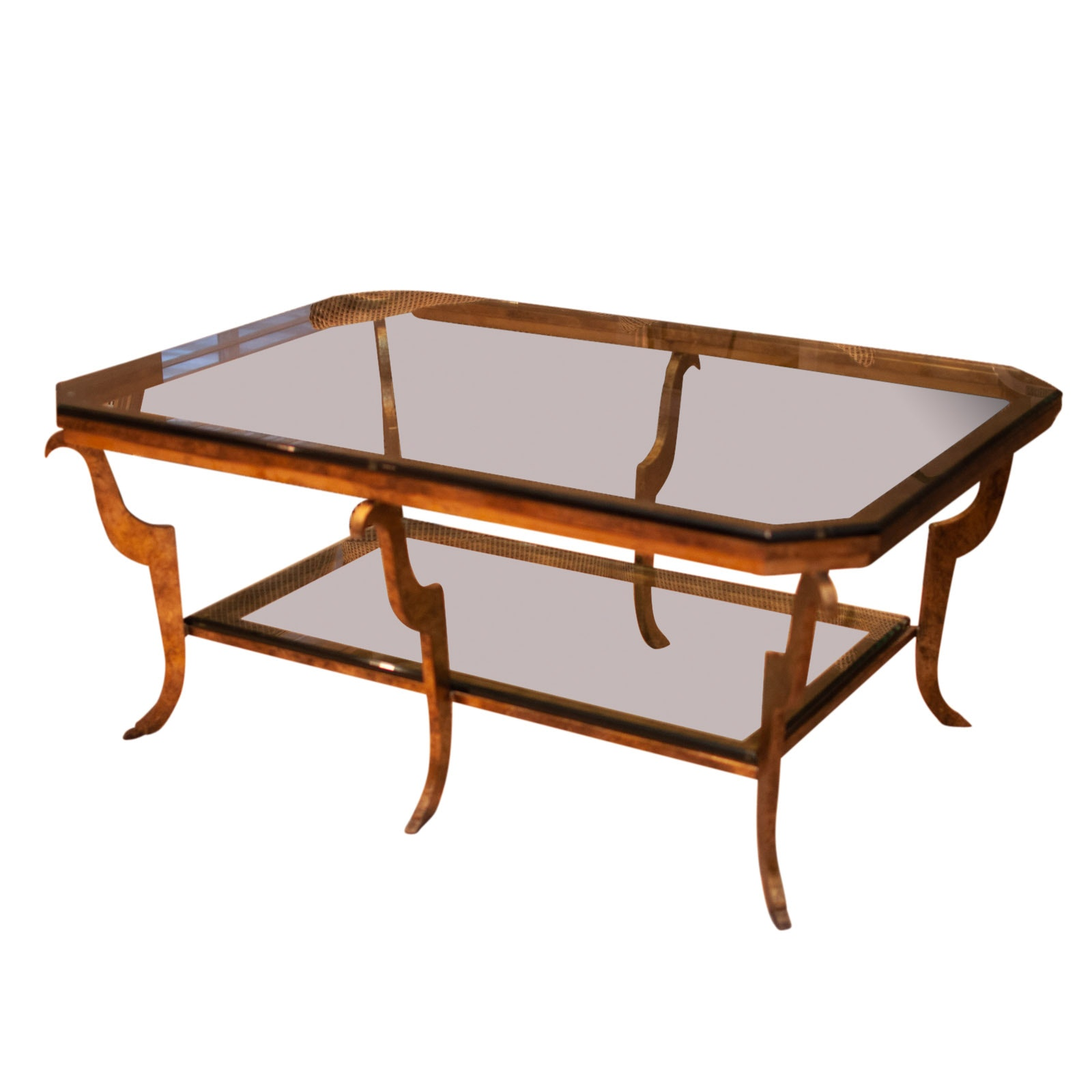 Rectangular Metal and Beveled Glass Coffee Table With Notched Corners by Swaim