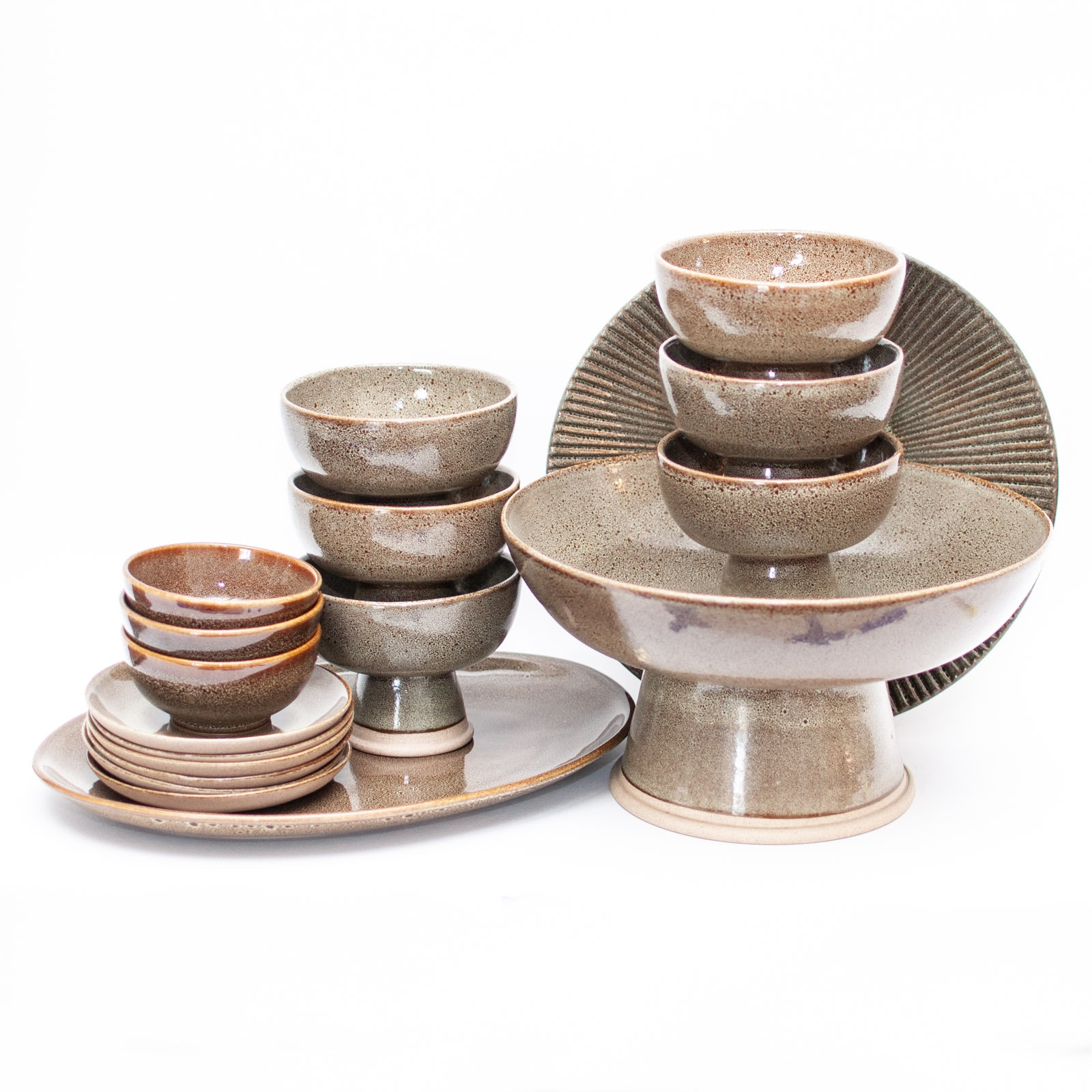 Wheel Thrown Stoneware and Porcelain Rice Bowl Serving Set