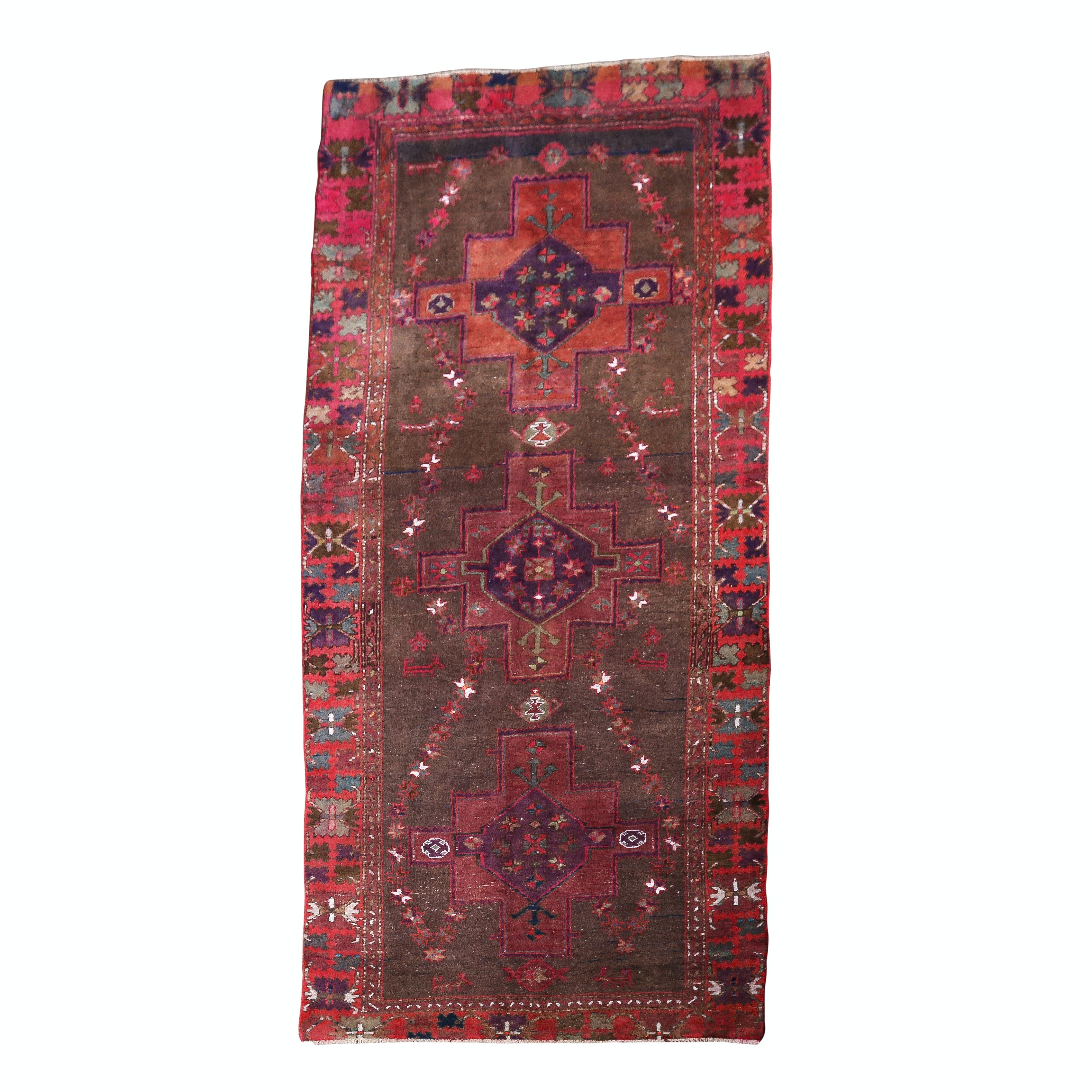 Vintage Hand-Knotted Caucasian Karabagh Long Rug