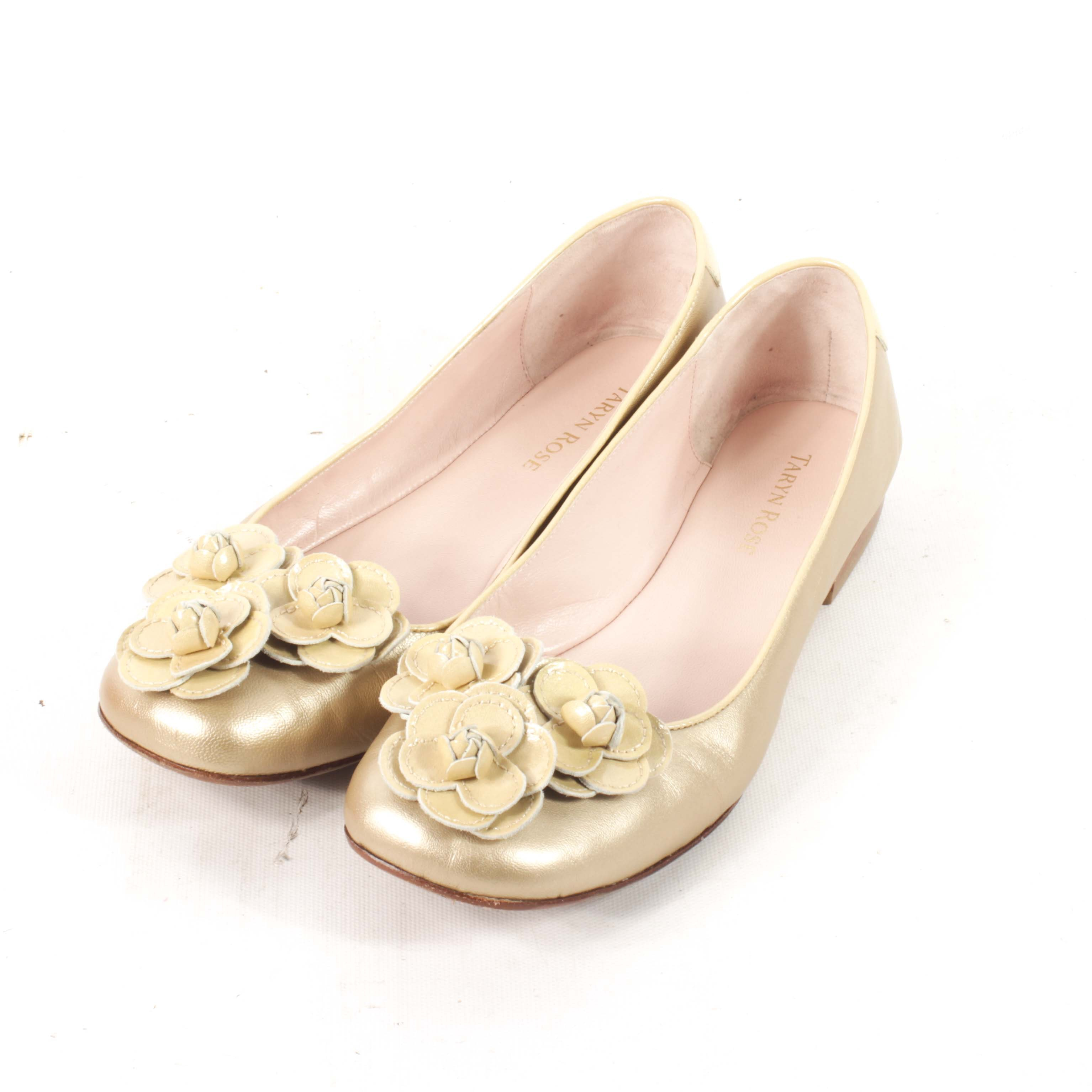 Women's Taryn Rose Gold Metallic Leather Flats with Rosettes