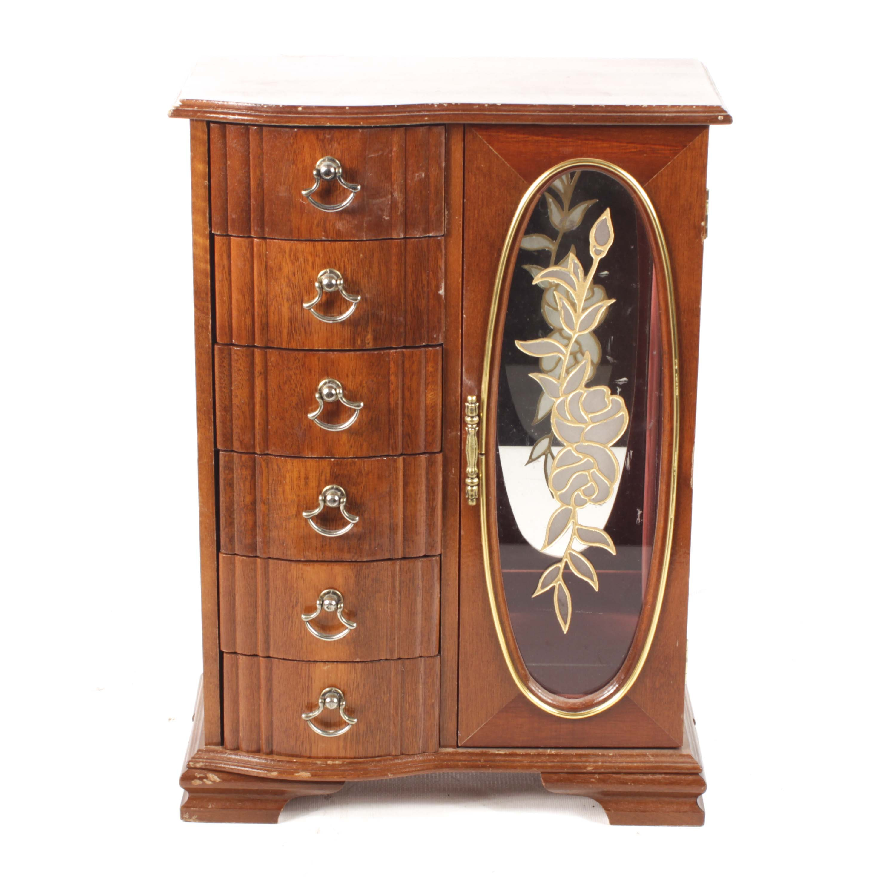 Rosalco Commodore Single Glass Panel Door Wood Jewelry Box