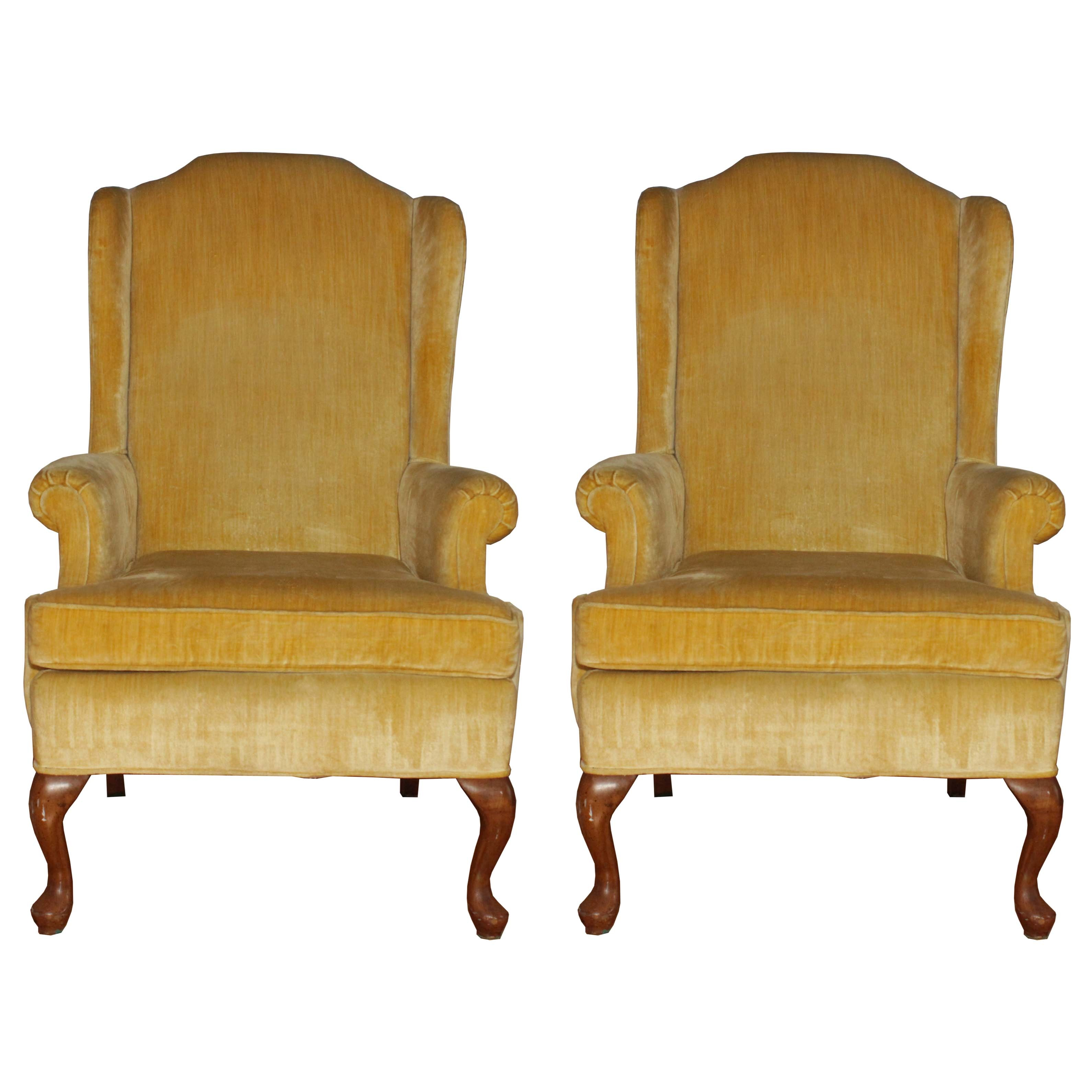 Pair of Wing Back Chairs by Suggs and Hardin