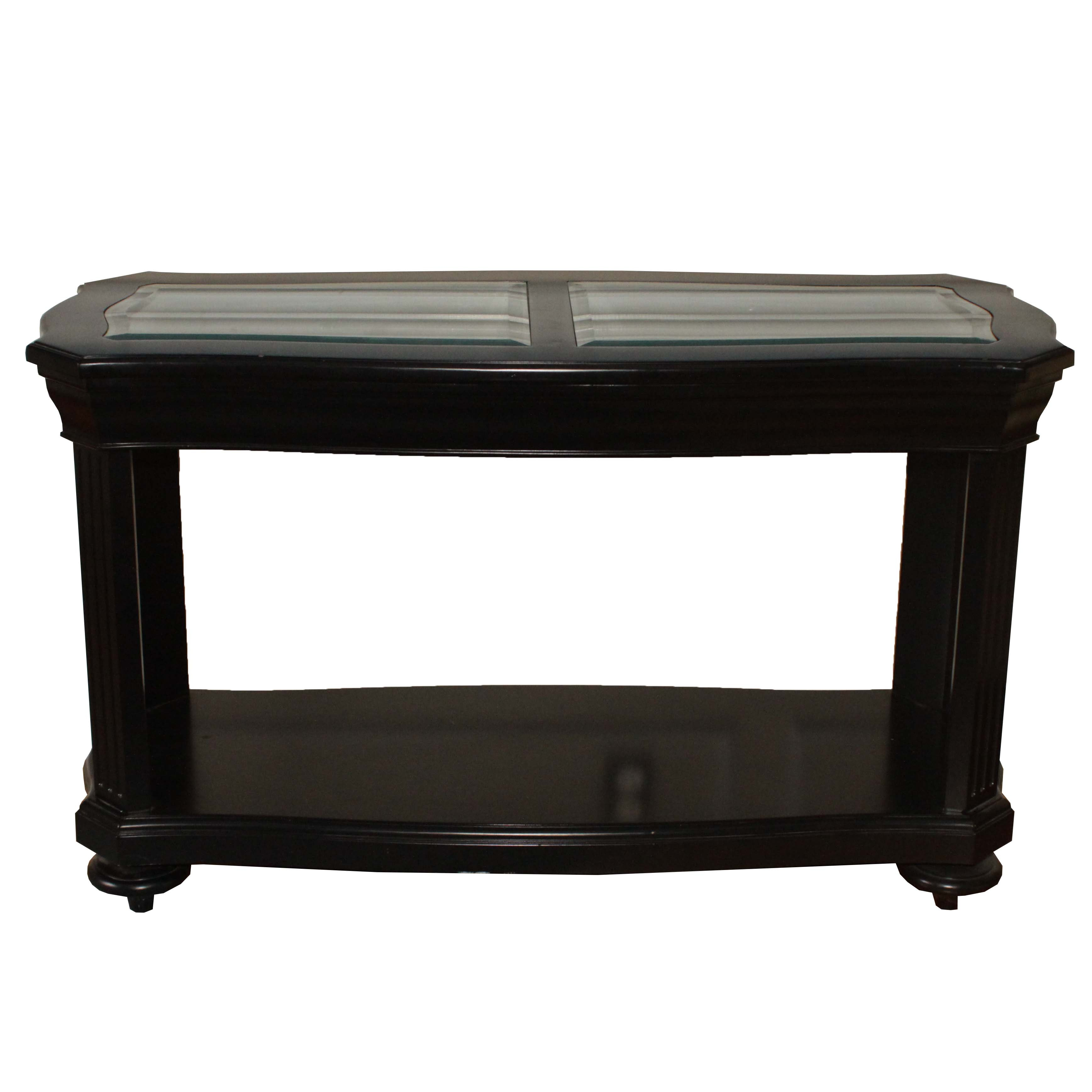 Contemporary Painted Wood and Glass Console Table