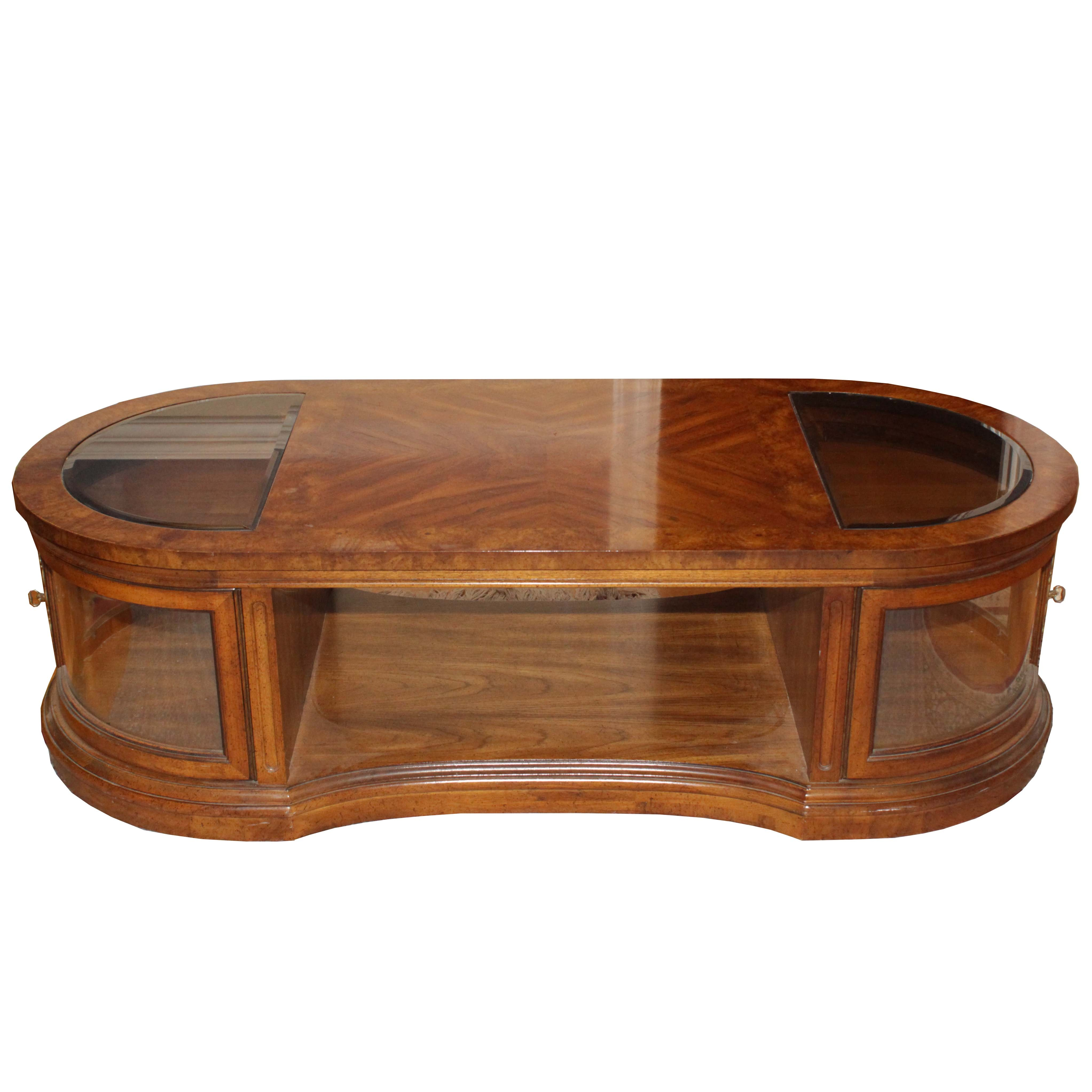 Oval Walnut and Glass Coffee Table, Late 20th Century