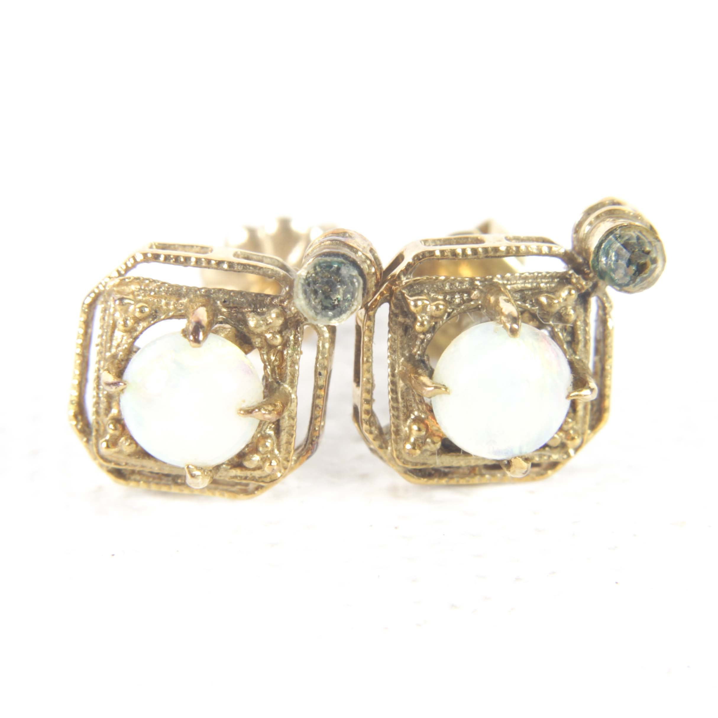 14K Yellow Gold Opal and Crystal Earrings