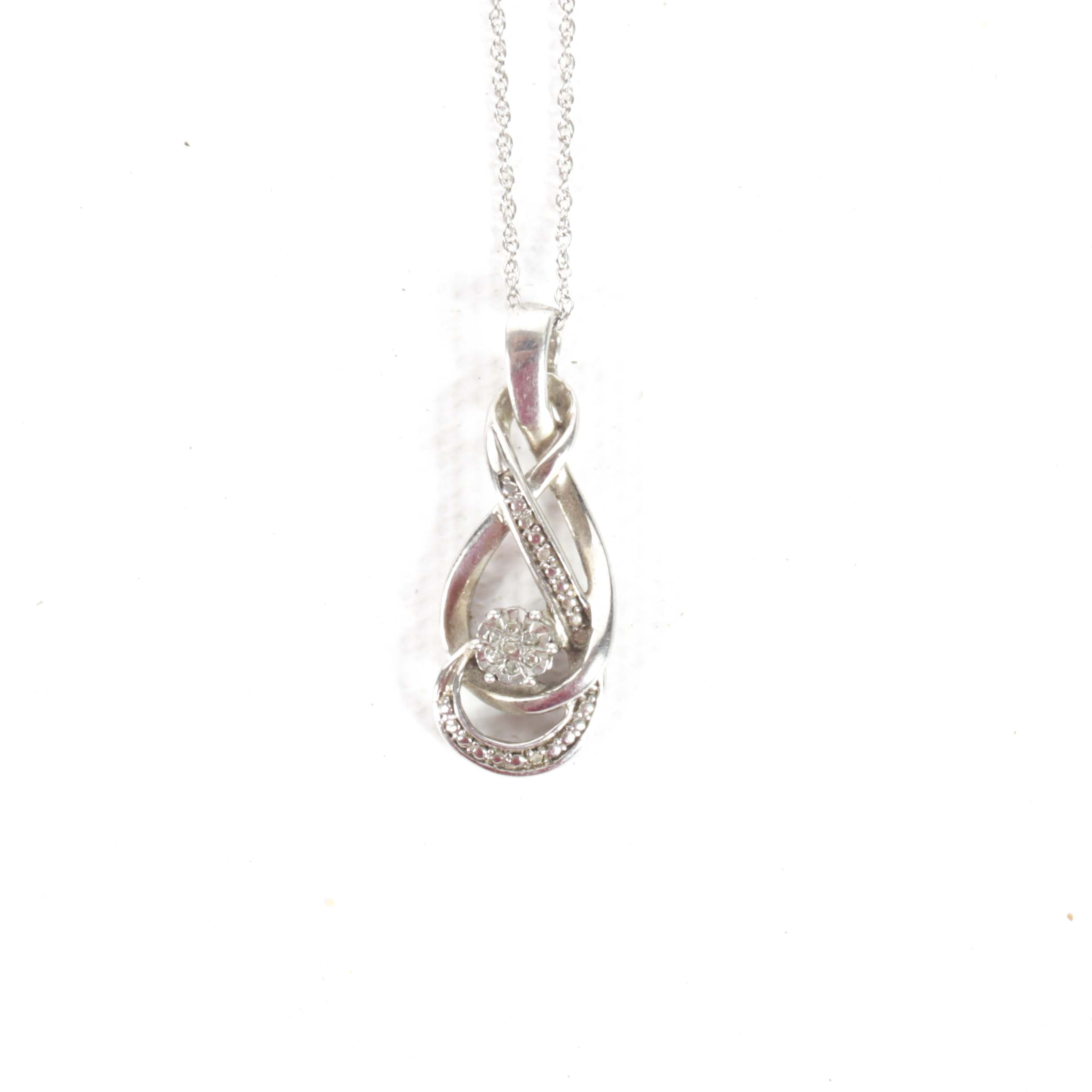 Sterling Silver Diamond Swirl Pendant Necklace