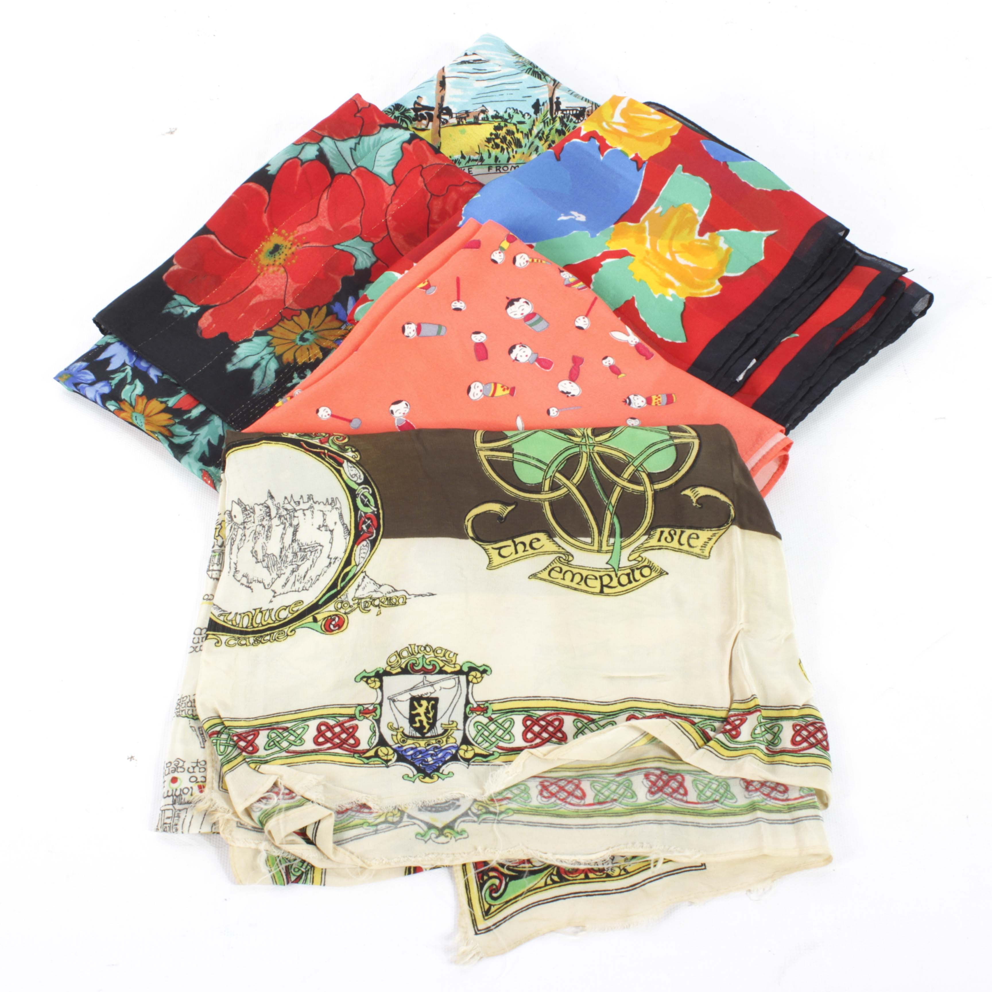 Collection of Five Women's Scarves in Multicolor Prints
